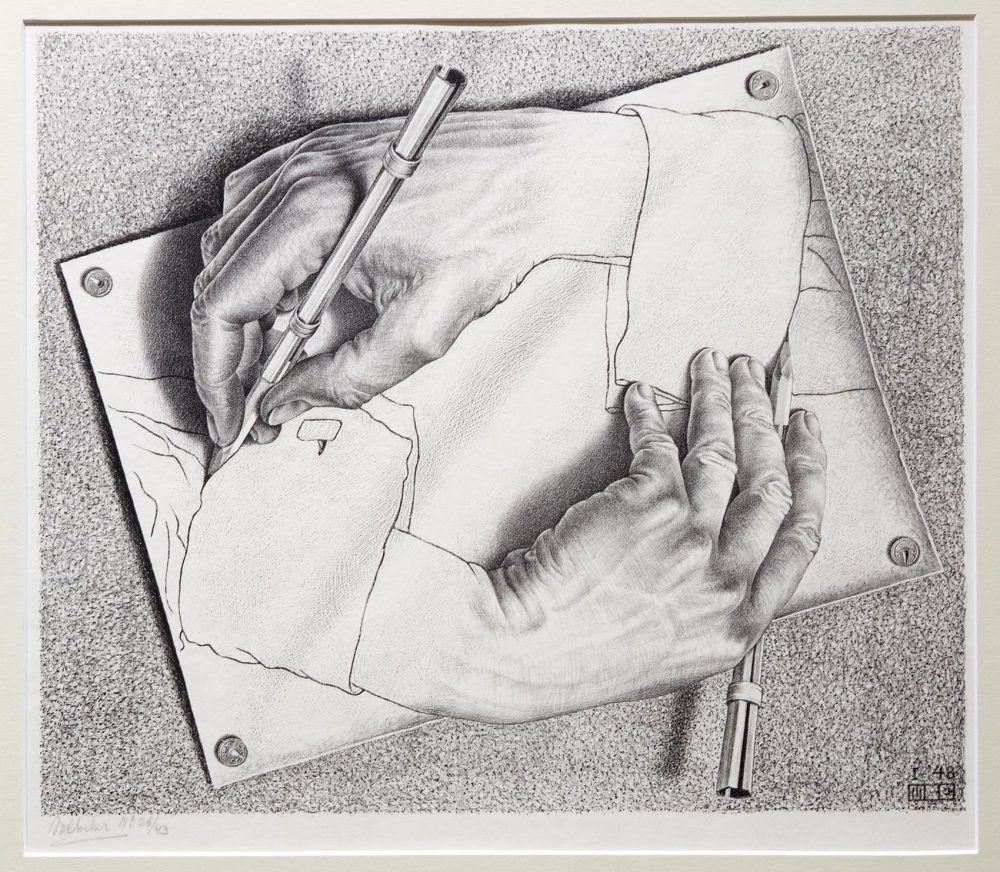 Maurits cornelis escher drawing hands 1948 robin lubbock wbur