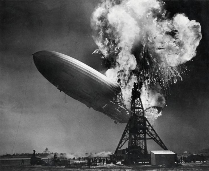 The stern of the Hindenburg begin to fall in New Jersey on May 6, 1937. (Nationaal Archief/Spaarnestad Photo)