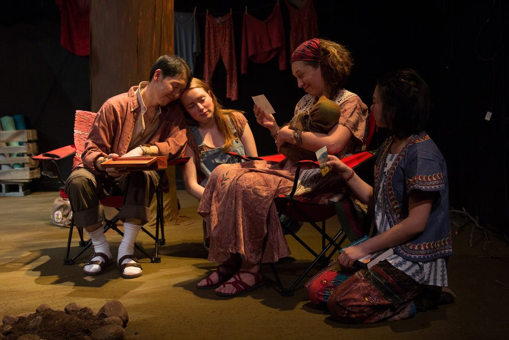 "Jeffrey Song, Ivy Ryan, Janelle Mills and Khloe Alice Lin in ""Nomad Americana."" (Courtesy Paul Fox/Fresh Ink Theatre)"