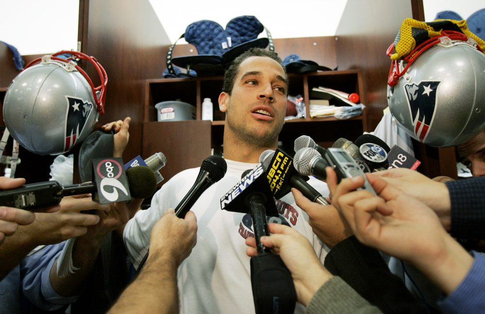 New England Patriots tight end Christian Fauria speaks to media from his locker prior to team practice in Foxborough, Mass. Wednesday, Nov. 16, 2005. (Elise Amendola/AP)