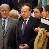 Sen. Stanley Rosenberg is at center. (Jesse Costa/WBUR)