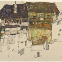 "Egon Schiele's ""Old Houses in Český Krumlov,"" created in 1914 with pencil and gouache on Japan paper. (Courtesy of Museum of Fine Arts, Boston)"