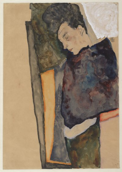 "Egon Schiele's ""The Artist's Mother, Sleeping,"" created in 1911 with graphite, watercolor, and white heightening on brown wrapping paper. (Courtes of Museum of Fine Arts, Boston)"