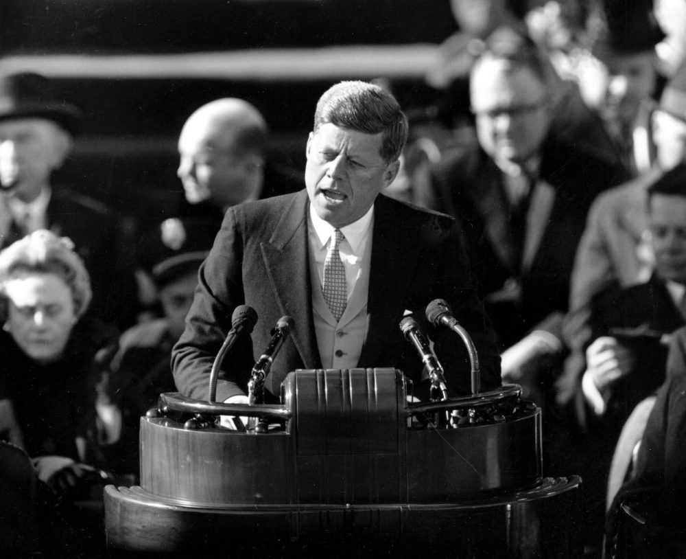 In this Jan. 20, 1961 file photo, President John F. Kennedy delivers his inaugural address after taking the oath of office in Washington. (AP)