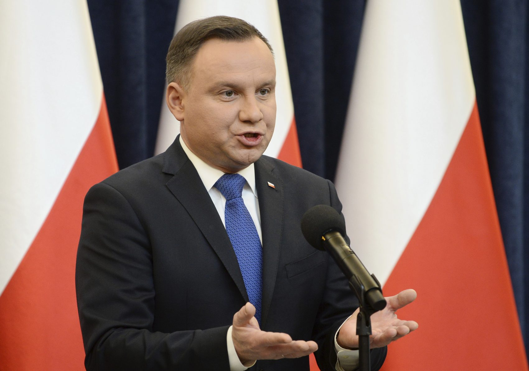 Polish President Andrzej Duda announces his decision to sign legislation penalizing certain statements about the Holocaust, in Warsaw, Poland, Tuesday, Feb. 6, 2018. Duda said that he will also ask the constitutional court to make final ruling on the disputed Holocaust speech bill. (Alik Keplicz/AP)