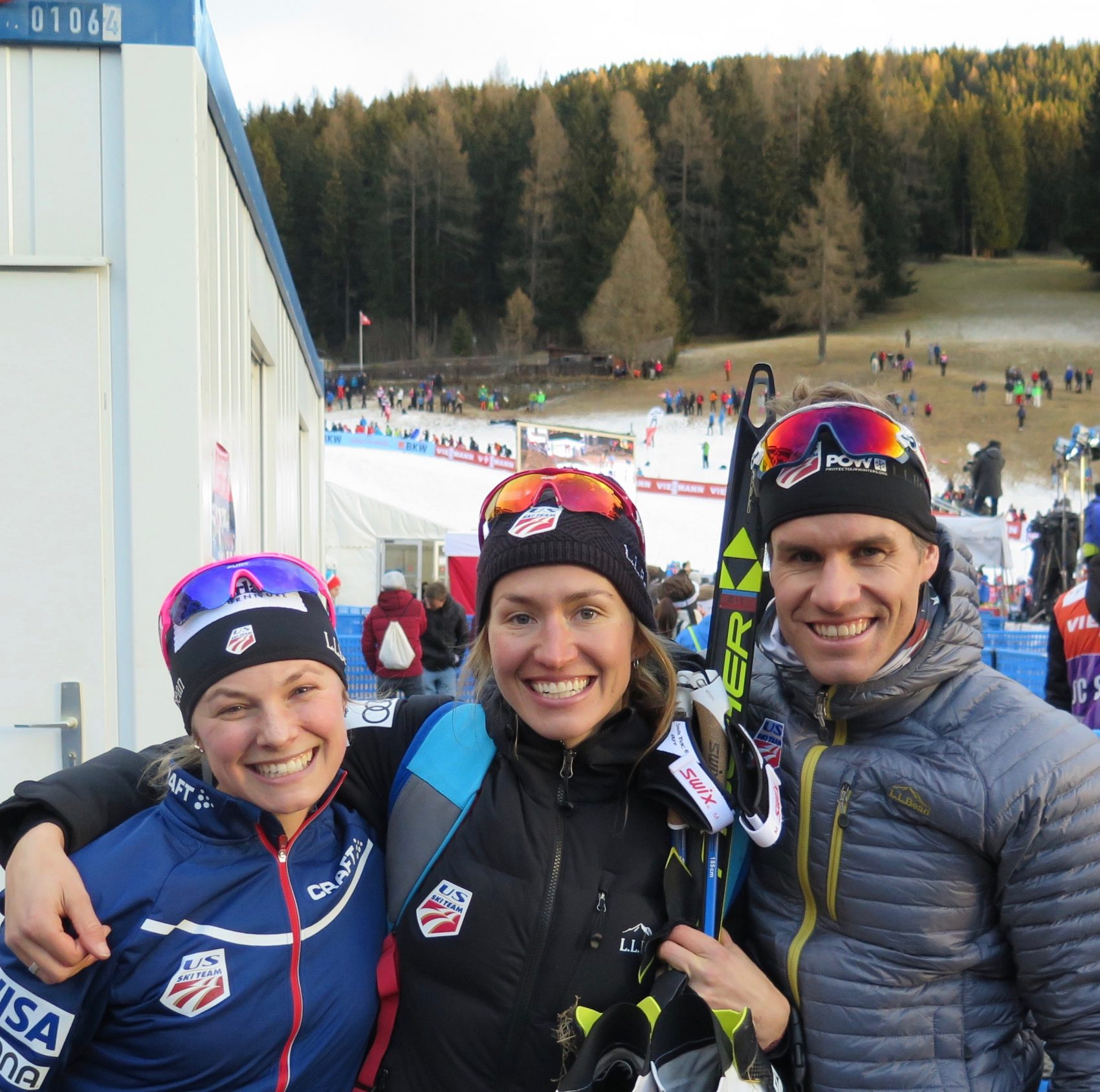 Sophie (middle) with Olympic teammates Jessie Diggins (left) and Simi Hamilton (right). (Courtesy Sverre Caldwell)