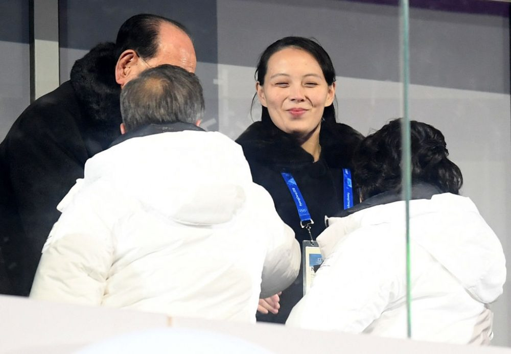 Kim Yo-jong, sister of Kim Jong-un, shakes hands with South Korean President Moon Jae-in during the Opening Ceremony for the 2018 Winter Olympic Games at PyeongChang Olympic Stadium on Friday. (Matthias Hangst/Getty Images)