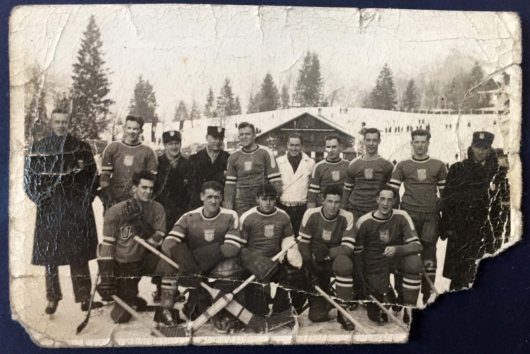 The 1936 U.S. Olympic hockey team in Germany. Francis Baker is third from the left in the front. Albert Prettyman is the fourth from the left in the back. (Courtesy Hamilton College)