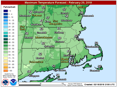 Highs Wednesday will reach the 60s. (Courtesy NOAA)