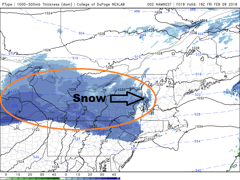 An area of snow crosses into New England Friday evening leaving a coating to one inch of snow. (Courtesy COD Weather)