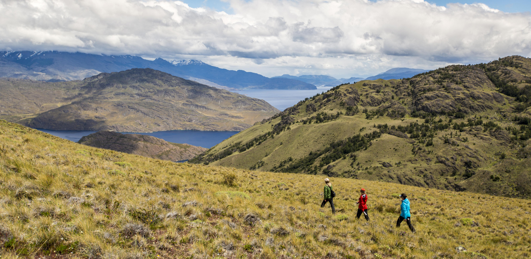 People hike along the Lago Chico trail at Parque Patagonia. (Courtesy Tompkins Conservation)