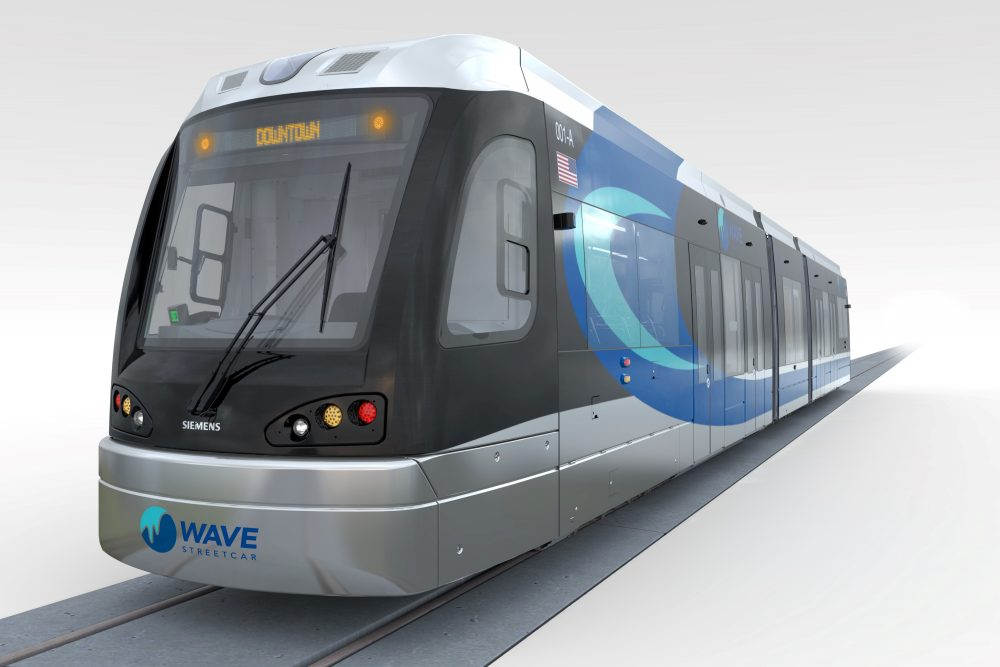 A rendering of the proposed Wave streetcar. (Courtesy)