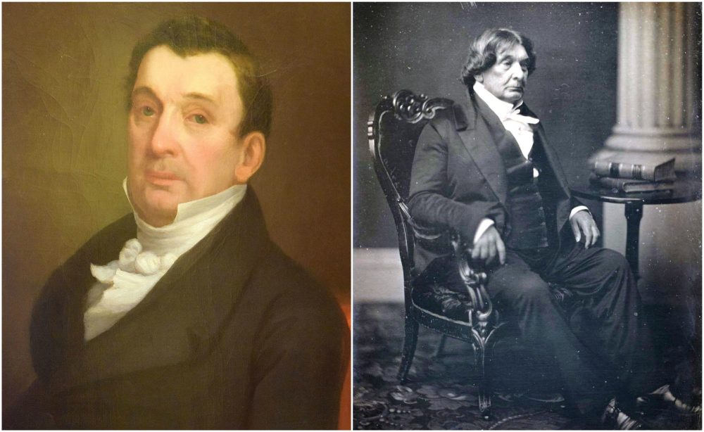 On the left, the SJC's portrait of Lemuel Shaw and on the right, Southworth & Hawes daguerreotype of Shaw in 1856. (Courtesy of the Supreme Judicial Court and MFA, Boston)