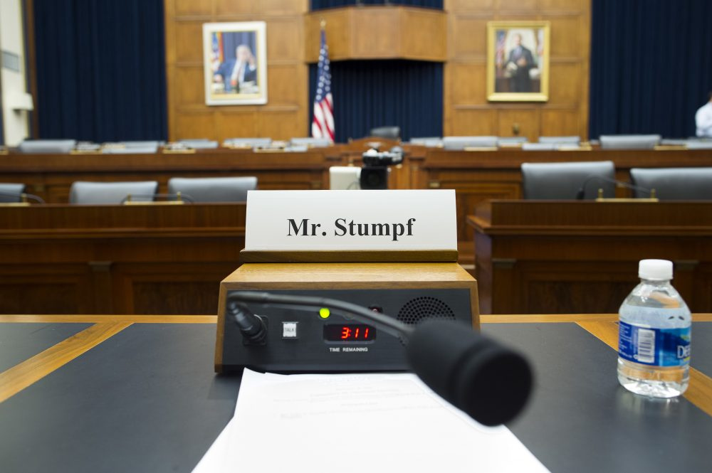 The House Financial Services Committee room is ready for the testimony of Wells Fargo CEO John Stumpf on Capitol Hill in Washington, Thursday, Sept. 29, 2016. (Cliff Owen/AP)