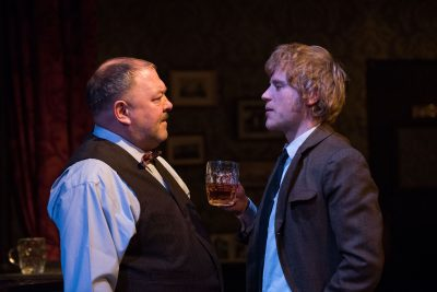 "Mark Haddy and Johnny Flynn in ""Hangmen"" at NYC's Atlantic Theater Company. (Photo by Ahron R. Foster)"