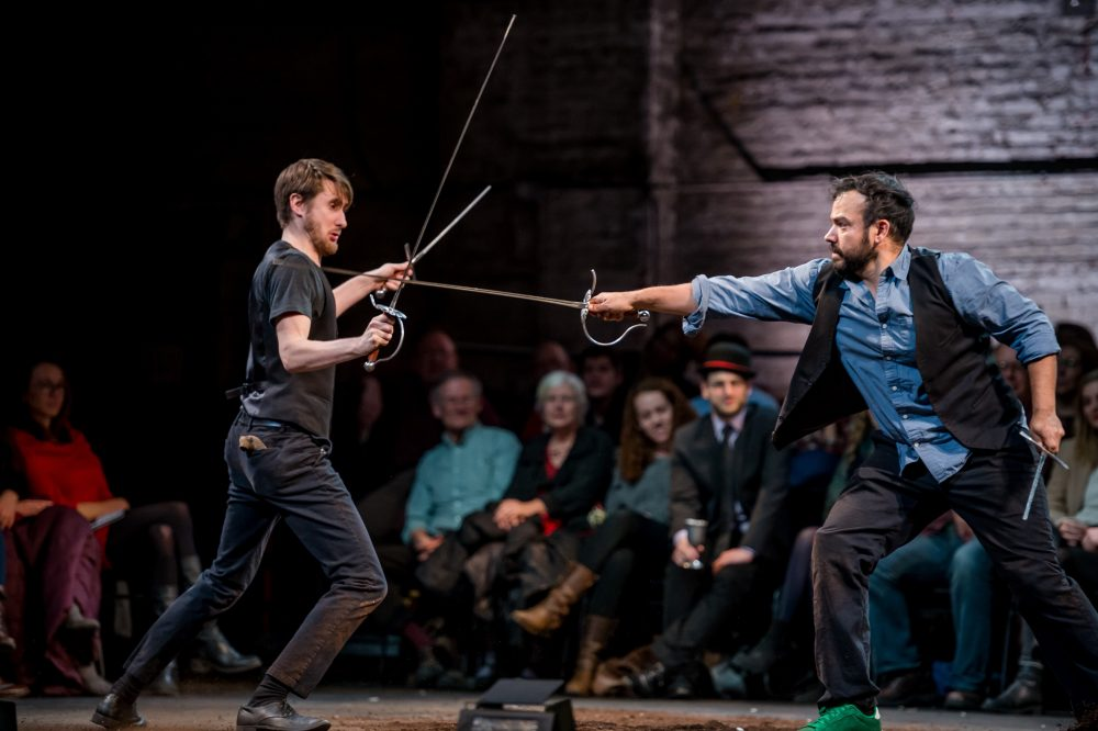 "Aubie Merrylees and Kahlil Garcia in Bedlam's ""Hamlet."" (Courtesy Randall-Garnick Photography/ArtsEmerson)"