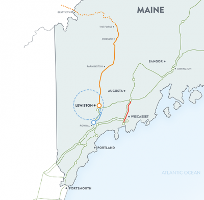 A map of the proposed New England Clean Energy Connect project through Maine (Courtesy Central Maine Power Co.)