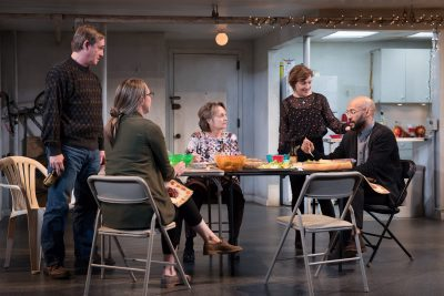 "Richard Thomas, Therese Plaehn, Pamela Reed, Lauren Klein, Daisy Eagan, Luis Vega in ""The Humans."" (Courtesy Julieta Cervantes/Boch Center)"