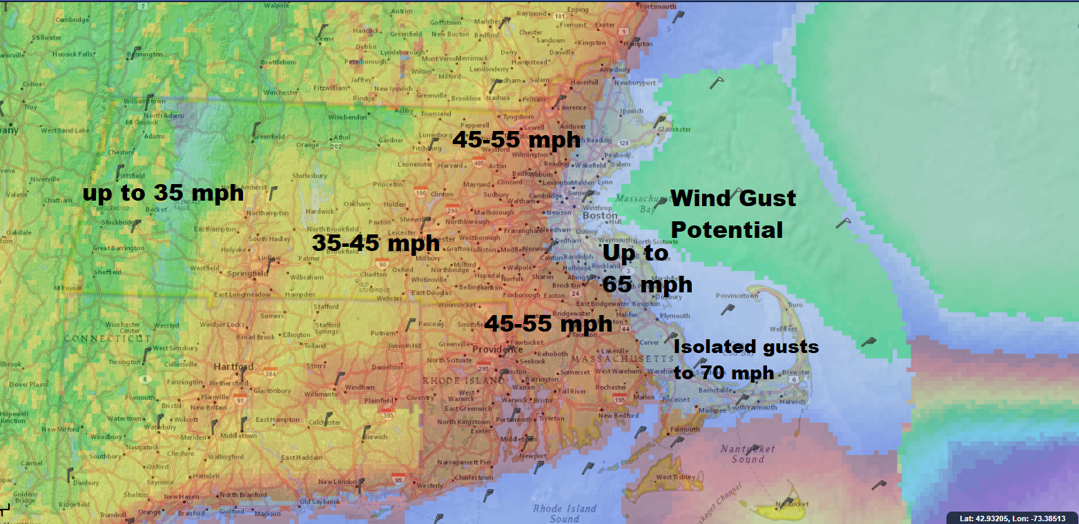 Winds will be strong enough to create power issues Friday (Dave Epstein/WBUR)