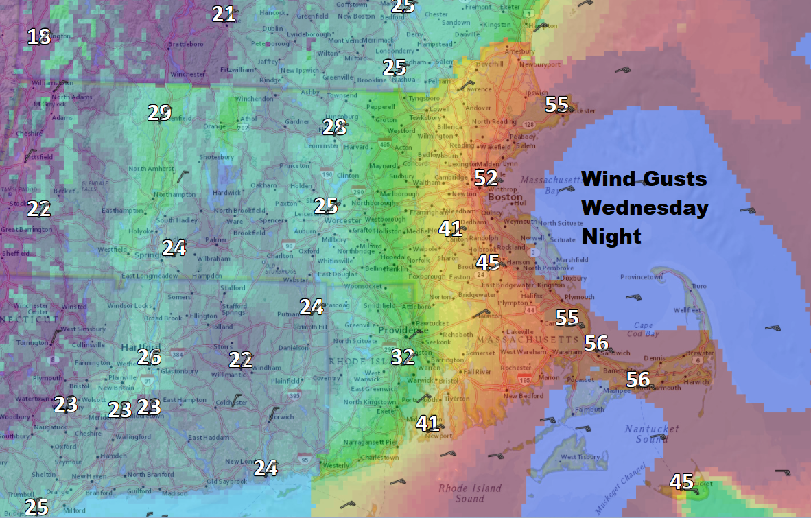 Winds will be strongest along the coastline Wednesday night. (Dave Epstein/WBUR)