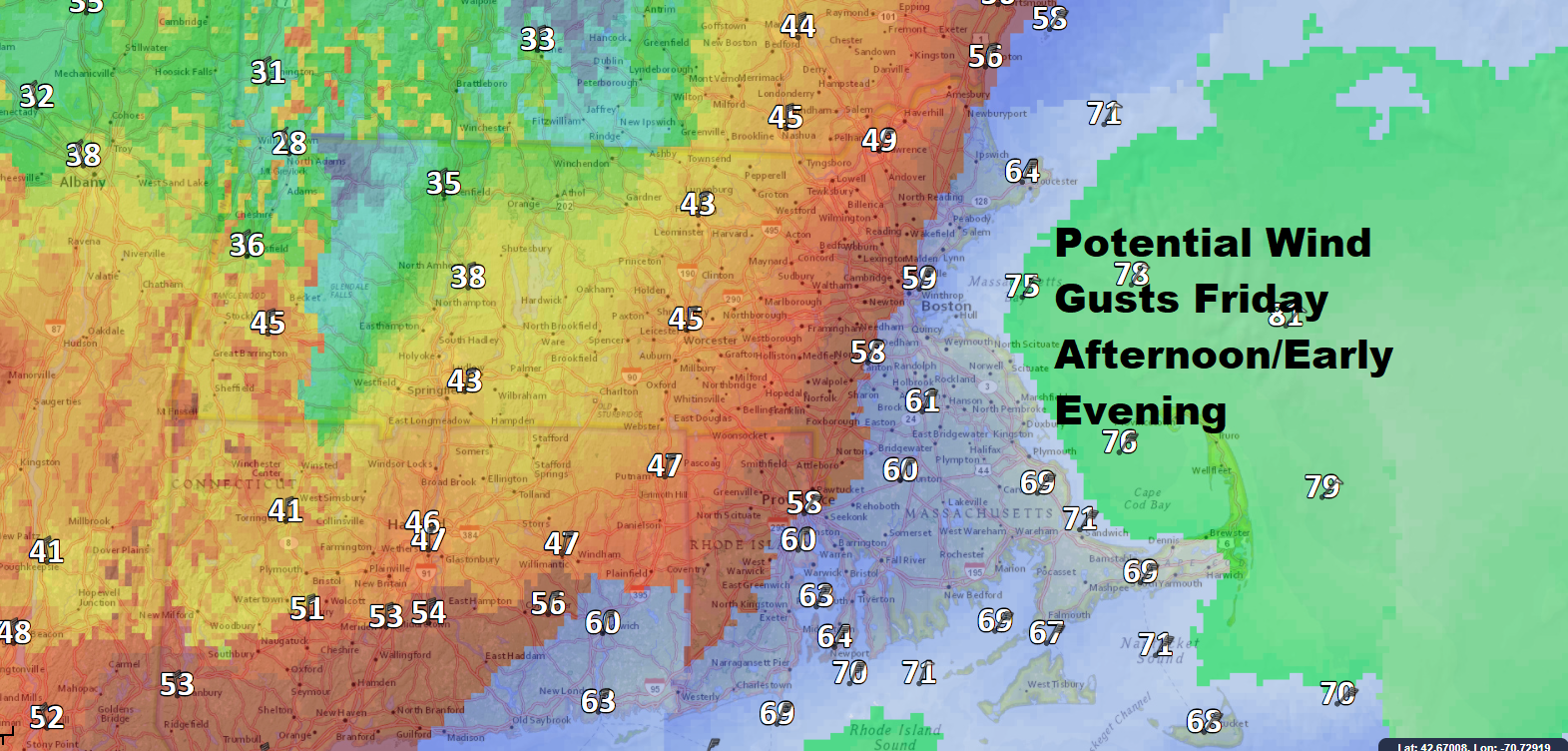 Wind gusts are expected to reach hurricane force along the coastal waters south of Boston. (Dave Epstein/WBUR)