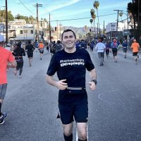 """When I run backwards in these races, yes, everybody is staring at me, which is always interesting,"" Loren Zitomersky says. (Courtesy Loren Zitomersky)"