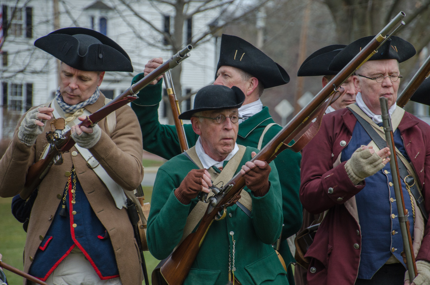 Musket safety is a major focus of the Minute Men's drills. (Sharon Brody/WBUR)