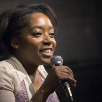 Comedian Nonye Brown-West performs at the 730 Tavern in Cambridge. (Robin Lubbock/WBUR)