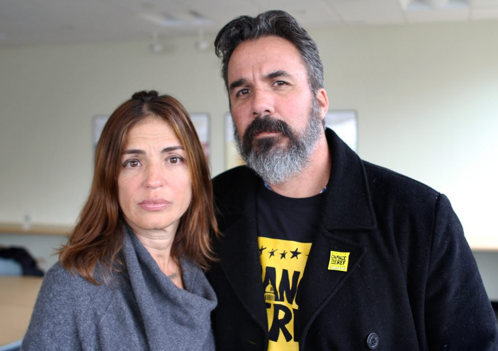 Patricia and Manuel Oliver lost their son, Joaquin, in the Parkland school shooting. Now Manuel is touring the country installing murals calling for more gun control. (Amy Gorel/WBUR)