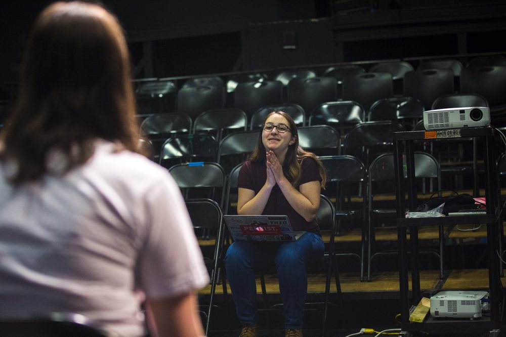 Senior Nessa Goldhirsch Brown is directing the performance at her school. (Jesse Costa/WBUR)