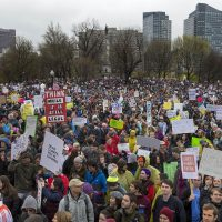 A photo from the March For Science in Boston last year. (Jesse Costa/WBUR)