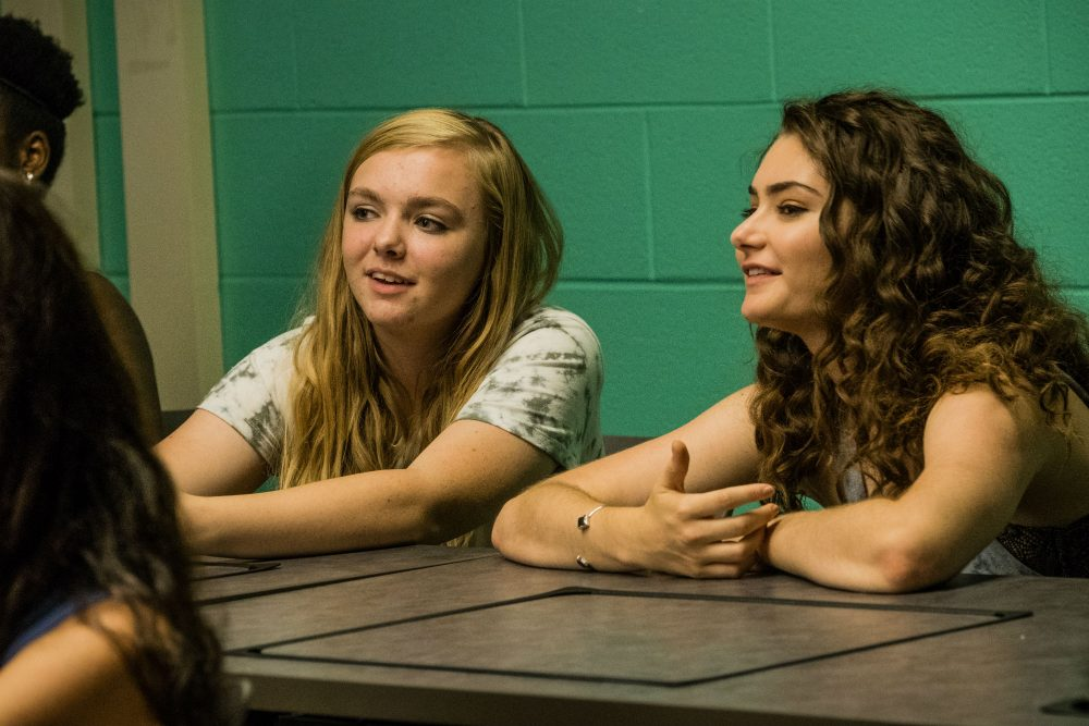 "Elsie Fisher and Emily Robinson in ""Eighth Grader."" (Courtesy Linda Kallerus/A24)"