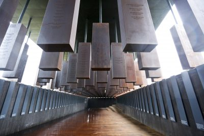 National Memorial for Peace and Justice, the new memorial is opening to honor thousands of people killed in racist lynchings on Sunday, April 22, 2018, in Montgomery, Ala. (Brynn Anderson/AP)