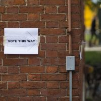A sign for a Harvard University polling place in 2016 for students to vote on a union effort (Jesse Costa/WBUR)