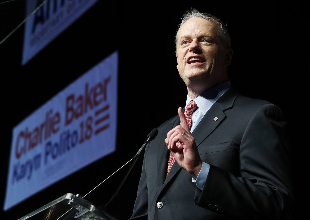 Gov. Charlie Baker addresses the Massachusetts Republican Convention at the DCU Center in Worcester. (Winslow Townson/AP)