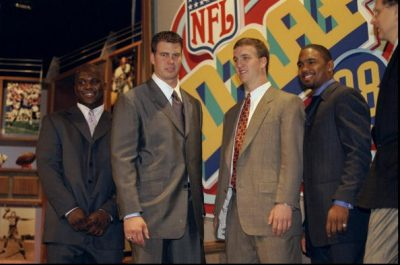 Ryan Leaf (second from left) during the 1998 NFL draft. (Jamie Squire/Allsport)