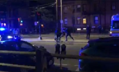 A screenshot from an onlooker's video of the arrest on Friday night (Courtesy of Cambridge Police)