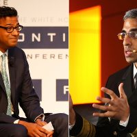 Drs. Atul Gawande, left, and Vivek Murthy, are seen in AP file photos. Last week they had a joint discussion at Brigham and Women's Hospital in Boston. (AP)