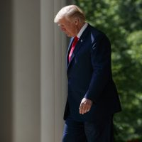 "President Donald Trump arrives for a ""National Day of Prayer"" event in the Rose Garden of the White House, Thursday, May 3, 2018, in Washington. (Evan Vucci/AP)"