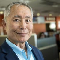 Actor George Takei at WBUR. (Robin Lubbock/WBUR)