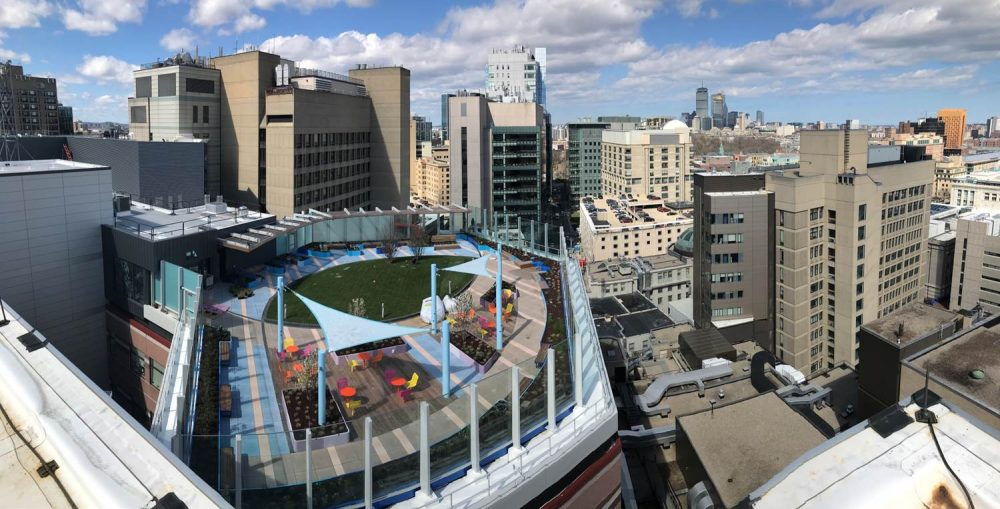 Boston Children's Hospital's rooftop garden offers expansive views. (Courtesy Boston Children's Hospital)
