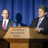 Democratic gubernatorial candidates Jay Gonzalez, left, and Bob Massie during a debate at UMass Boston (Robin Lubbock/WBUR)