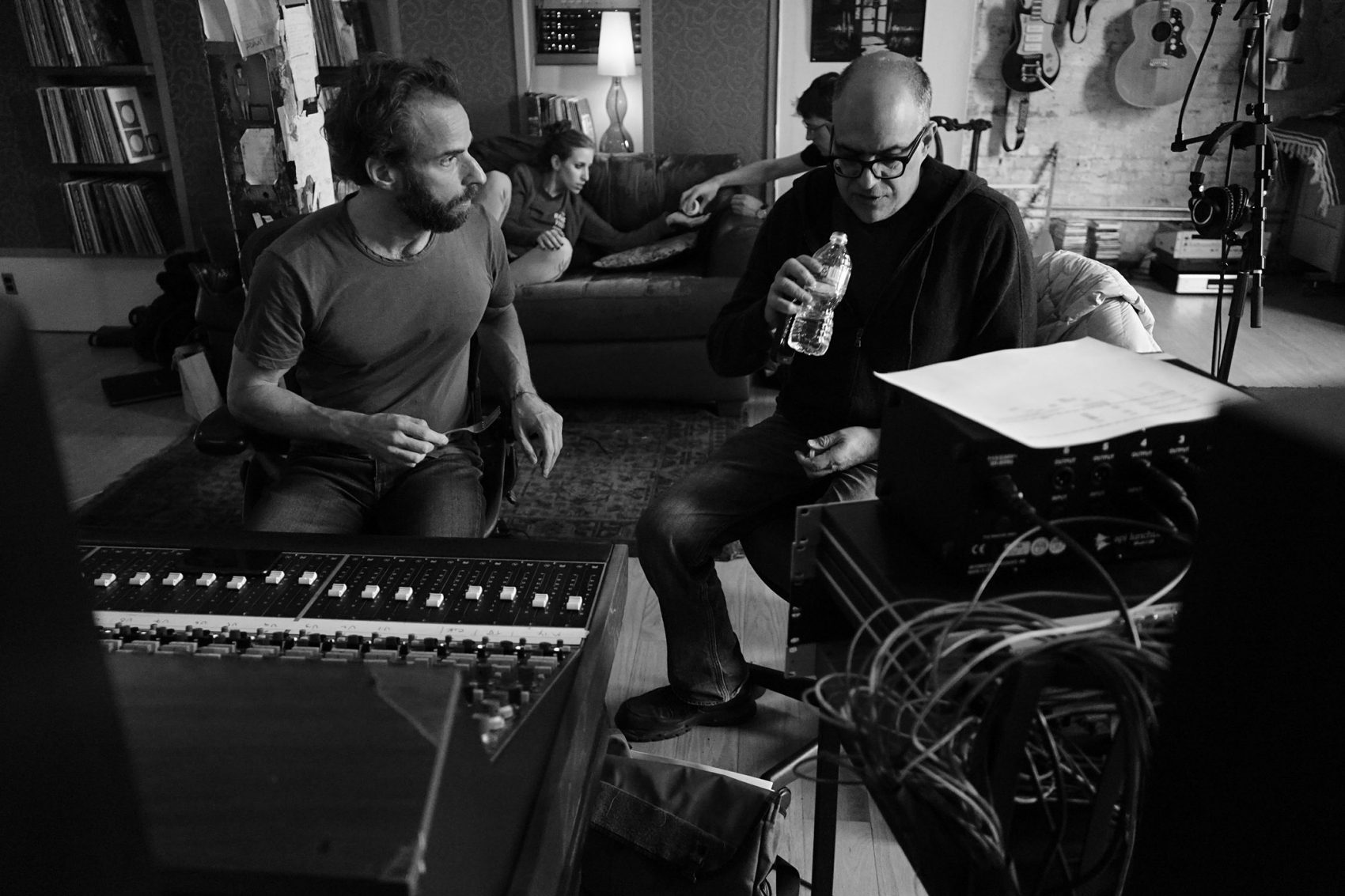 "Dean Sharenow (left) and David Yazbek during a cast recording for ""The Band's Visit."" (Courtesy Susan Stava)"
