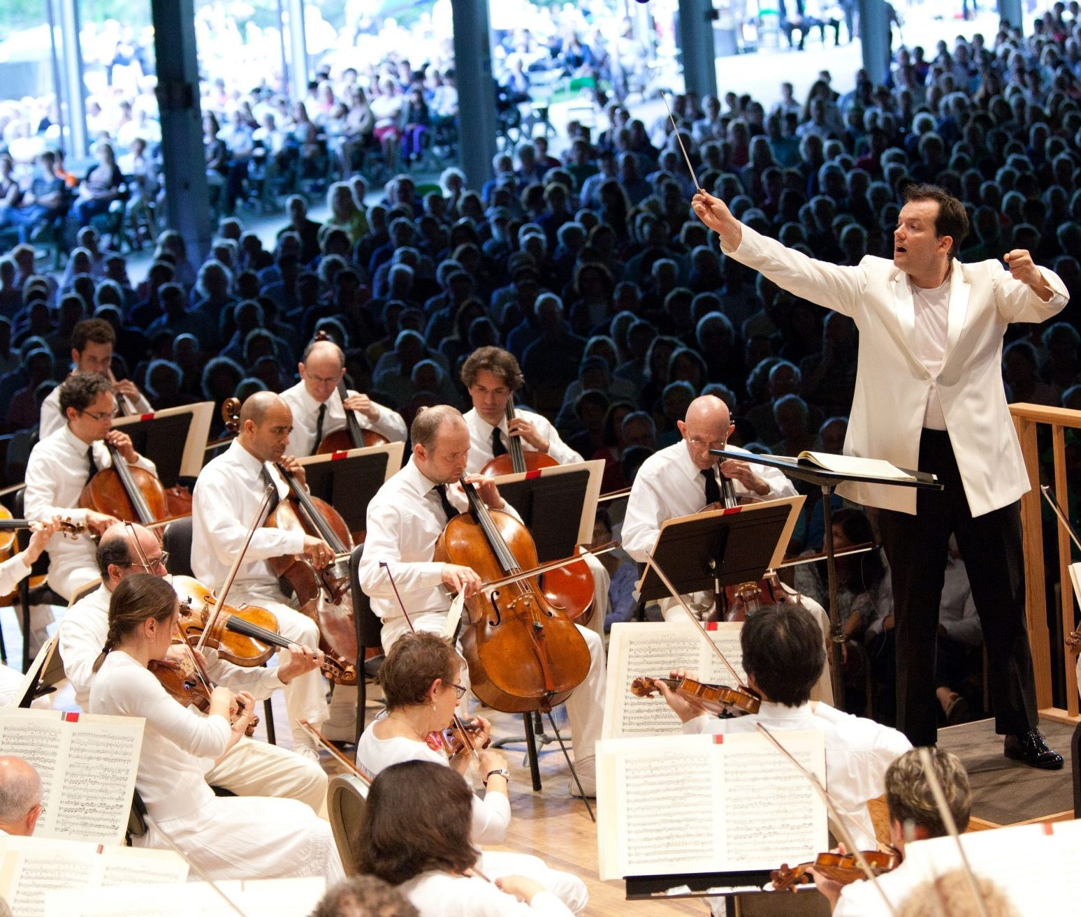 Andris Nelsons conducts at Tanglewood. (Courtesy Hilary Scott/BSO)