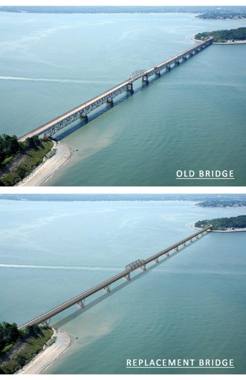 The old bridge to Long Island, and an artist's rendering of a new bridge. (Courtesy of the city of Boston)