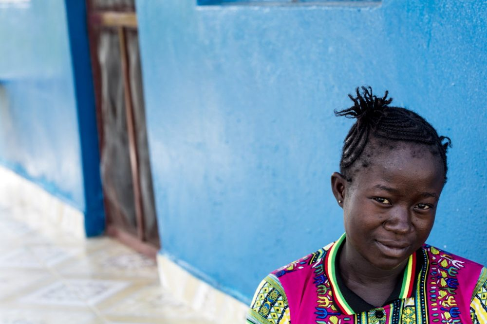 Susan Kellie, 23, stays at the Wellbody Clinic Birth Waiting Homes in Kono, Sierra Leone. (Jon Lascher/Partners In Health)