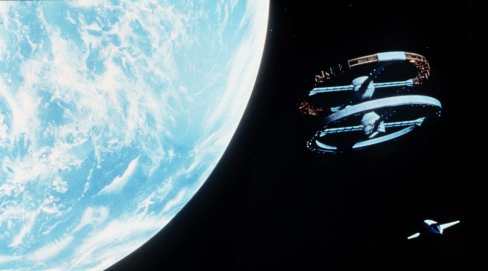 "The space shuttle approaches the space station, an example of Kubrick's matching the elegance of ""The Blue Danube Waltz"" to the visuals. (Ho, Turner Entertainment/AP)"
