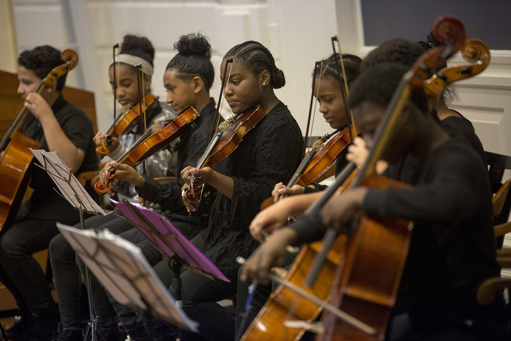 Students from the Conservatory Lab Charter School in Boston perform during a recent conference at the Harvard Graduate School of Education. (Jesse Costa/WBUR)