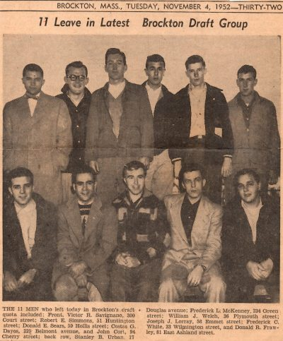 A Nov. 4, 1952 article from The Brockton Enterprise shows Cort's draft group. Cort is in the front row, far right. (Courtesy John Cort)