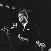 Robert F. Kennedy, U.S. Attorney General, stresses a point as he makes acceptance speech in New York's 71st Regiment Armory on Sept. 1, 1964. He received the Democratic nomination as a candidate for the U.S. Senate at the party's state convention held at the armory. (John Lent/AP)